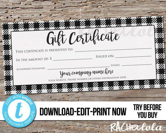 editable custom printable gift certificate template black buffalo