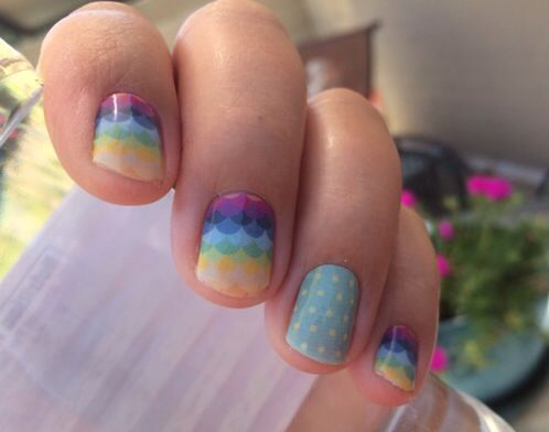 """""""candy scallop"""" with """"teal mini polka"""" jamberry nail wraps"""