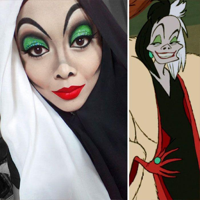 Make Up Halloween Simple Hijab.Hijab Disney Woman Uses Her Hijab To Turn Herself Into