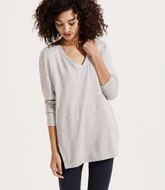 b363cbeaf43 Primary Image of Lou & Grey Signaturesoft V-Neck Tunic charcoal, grey  speckle M