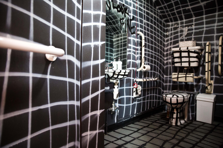 Graffiti Bathroom Tiles Monochrome Black And White Punch Decor