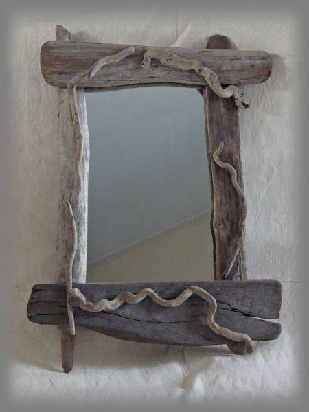 specchio primitive con legni di mare di tendance nature