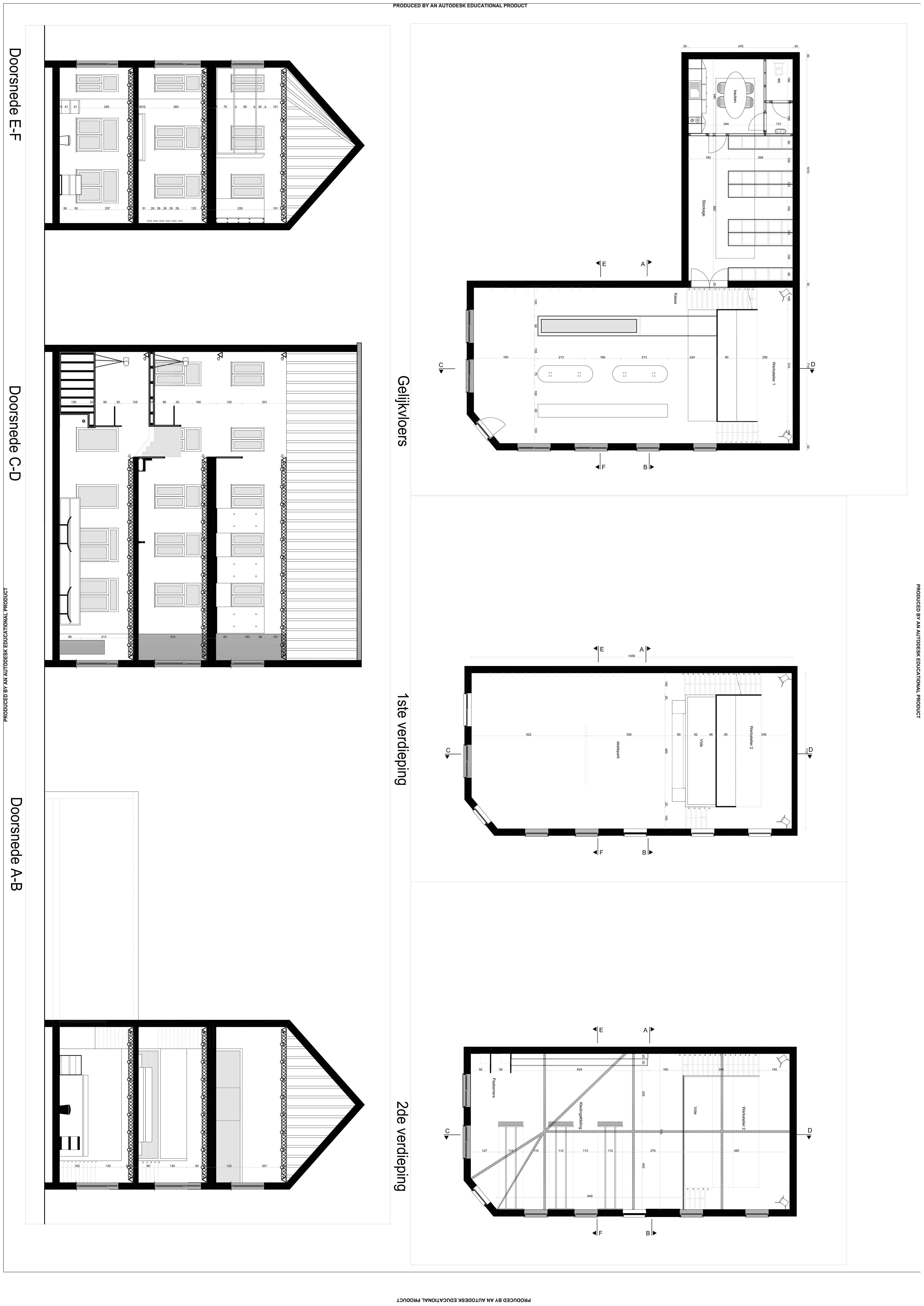 Plannen skateshop - conceptuele opdracht - 2de jaar