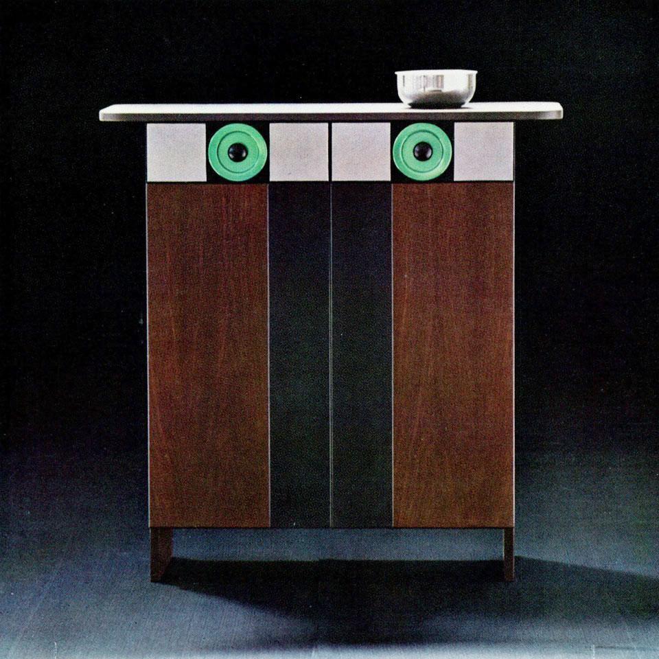 Cassettoncino noce, ceramica e alluminio (pezzo unico), Poltronova, 1965