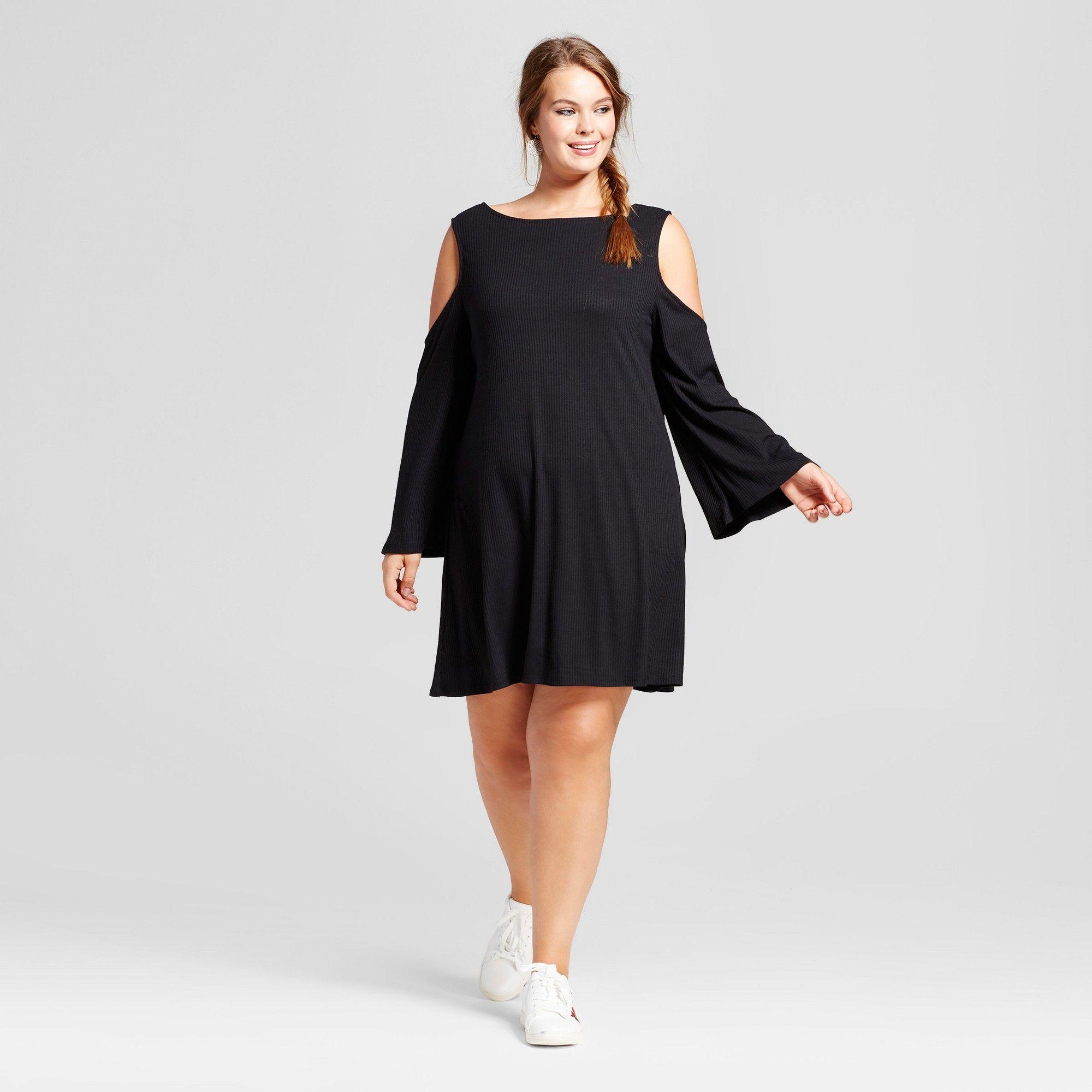 c9a765e754f Women s Plus Size Rib Knit Cold Shoulder Long Sleeve Dress - Xhilaration  Black 3X