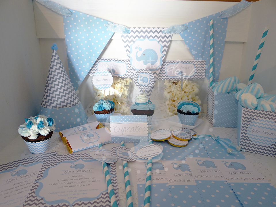 Kit Baby Shower Niño Elefante Manualidades De Decoración Baby Shower Elefantes Decoracion Bebe