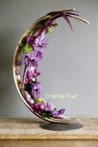 Spotted Lavender Orchid Inspired Natural Half Moon