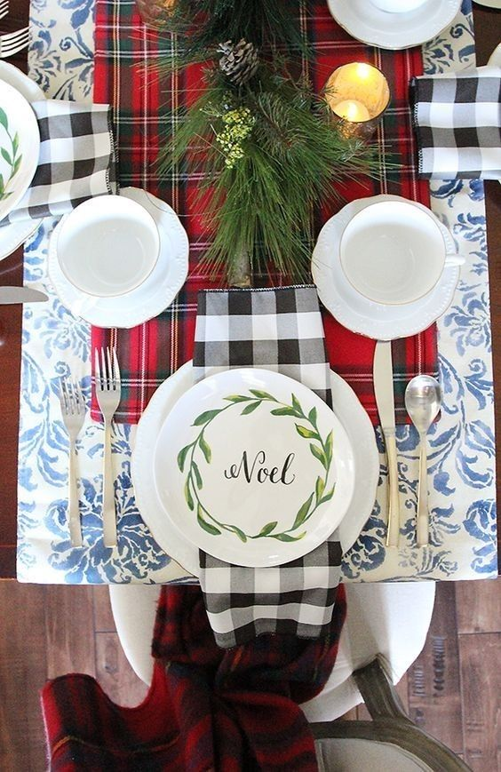 +28 Best Plaid Christmas Tablescape For Your Home As you probably already know, I really like plaid so made a decision to go with an extremely merry plaid Christmas tablescape. Since you can see I used plenty of plaid this year. I have mostly silver, gold and burlap in my house, in regards to my Christmas decor, yet this year, I made a decision to bring some festive red by means of my Christmas tablescape.