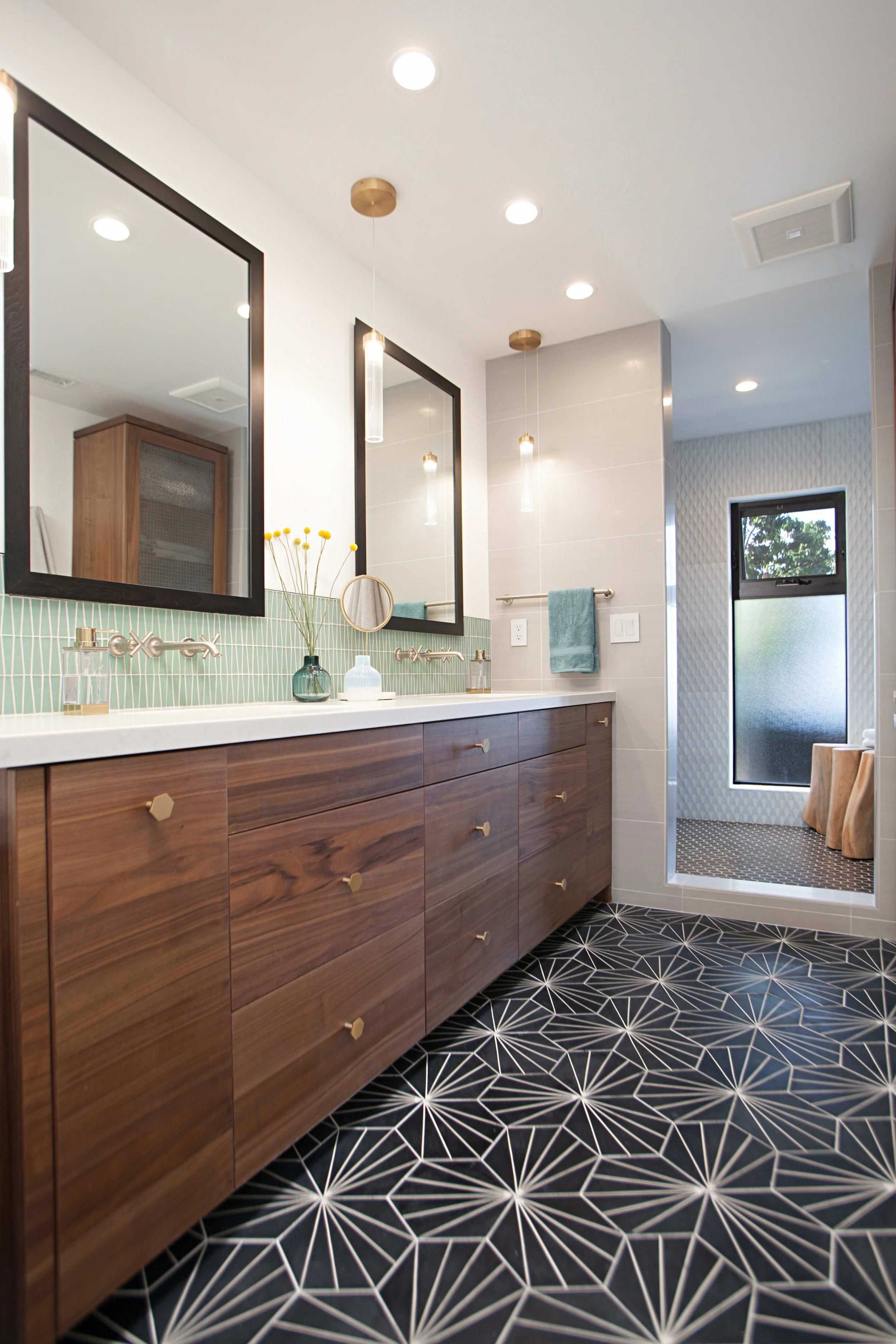 master bathroom love the wood vanity and the clean lines