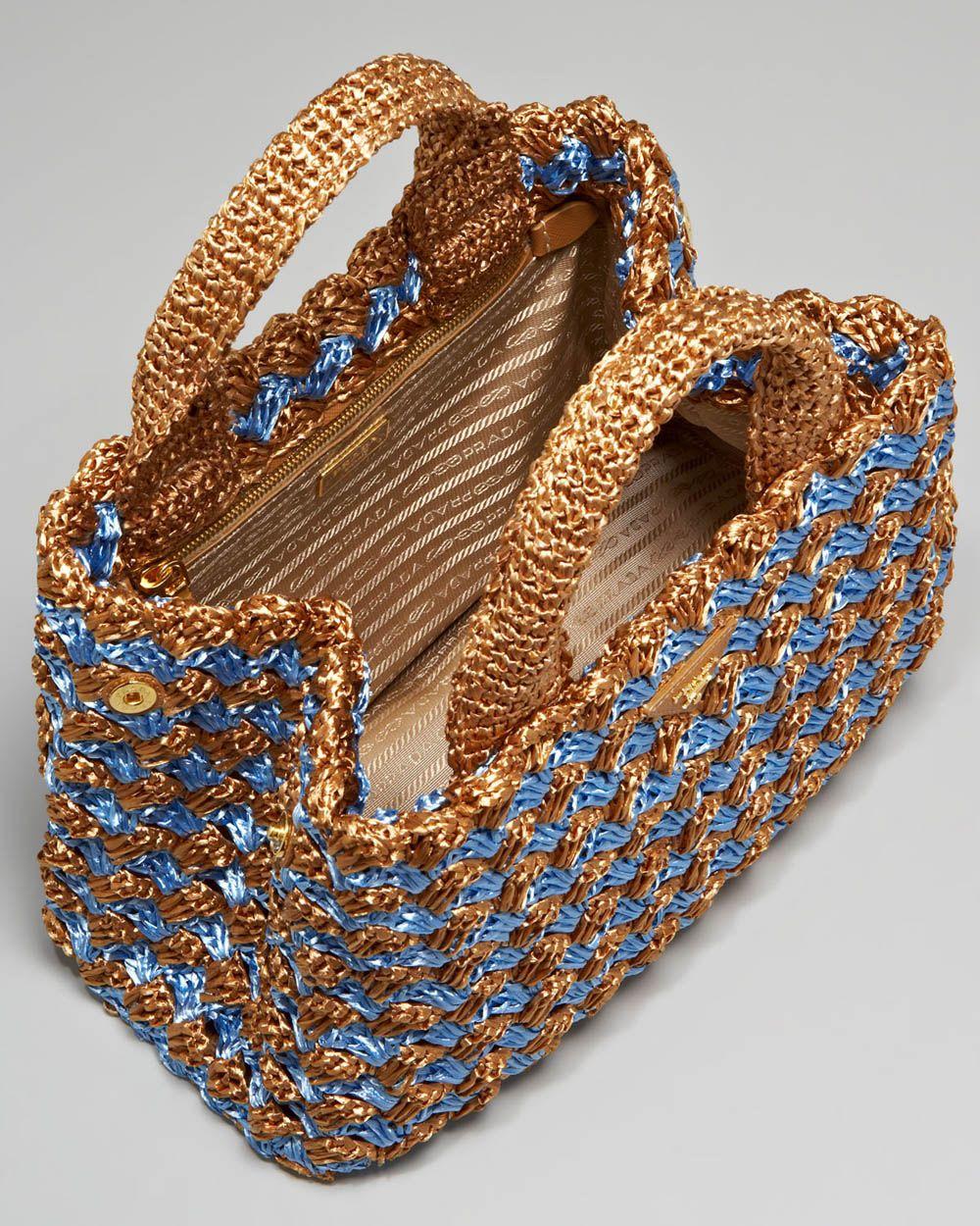 Prada Bi Color Crocheted Raffia Toteinterior Interessante La