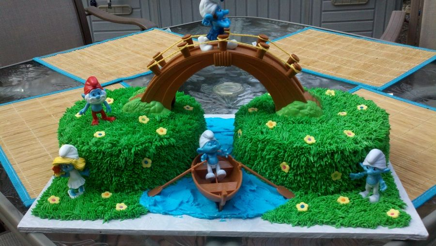 Cub Scout Bridge Crossing Smurf Bridge Cake Birthday
