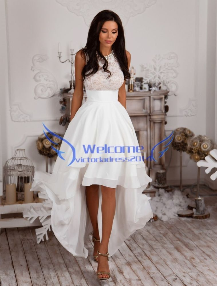 Unique Beach Wedding Dresses High Neck Satin High Low Wedding