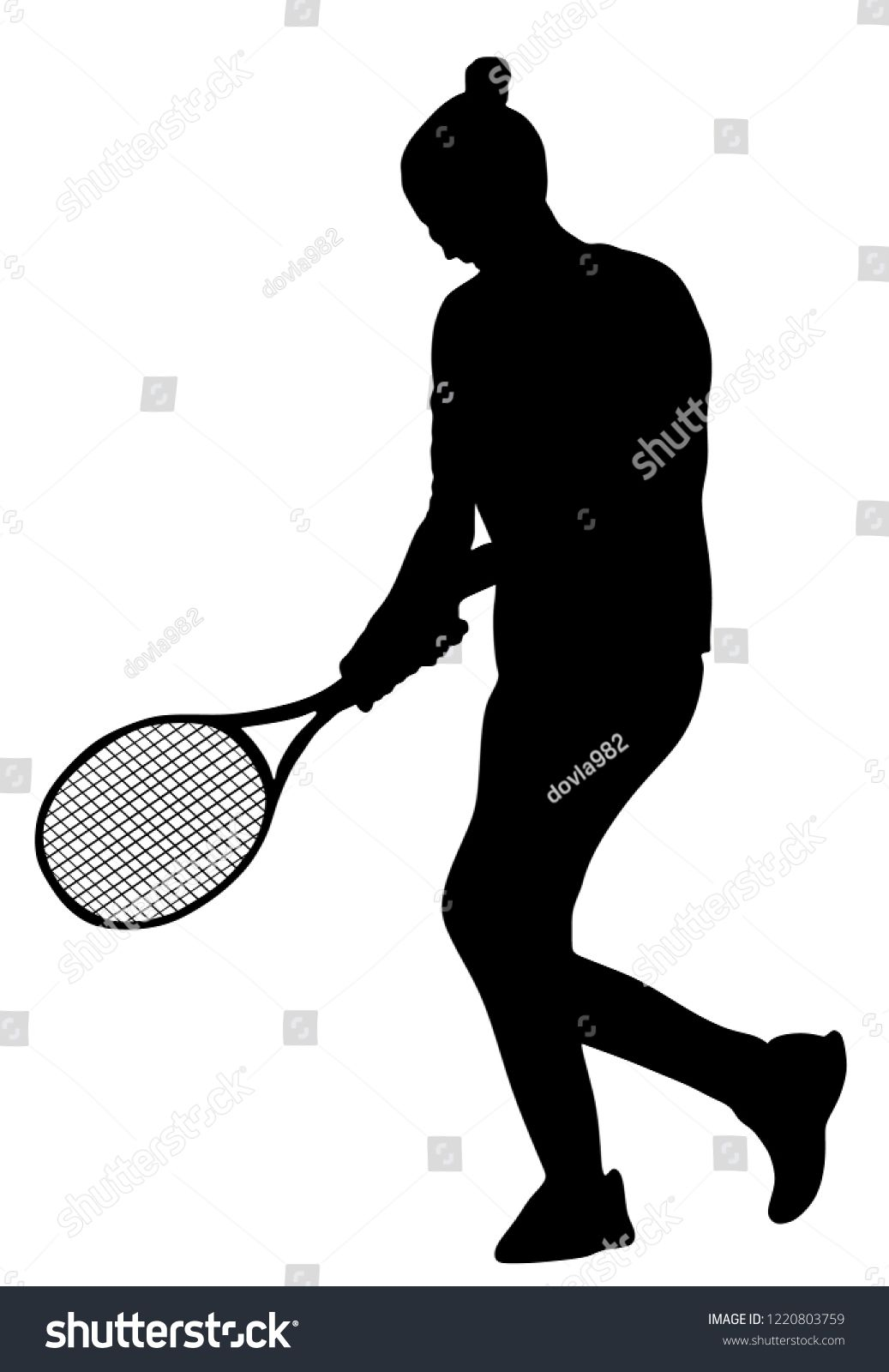 Woman Tennis Player Vector Silhouette Isolated On White Background Sport Tennis Shadow Isolated Recreation Pose Girl Pla Play Tennis Sport Tennis Girls Play