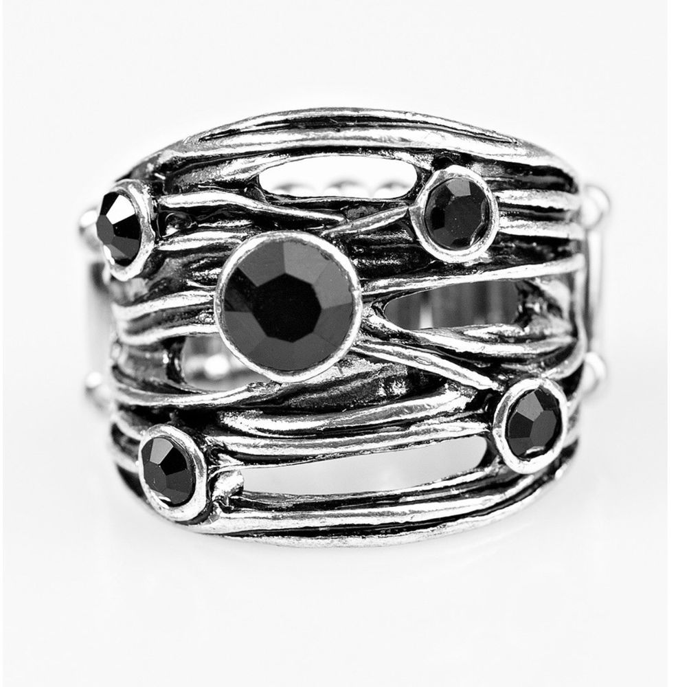 Sparkle Struck Black Ring Paparazzi Black Rings Womens Jewelry Rings Rings