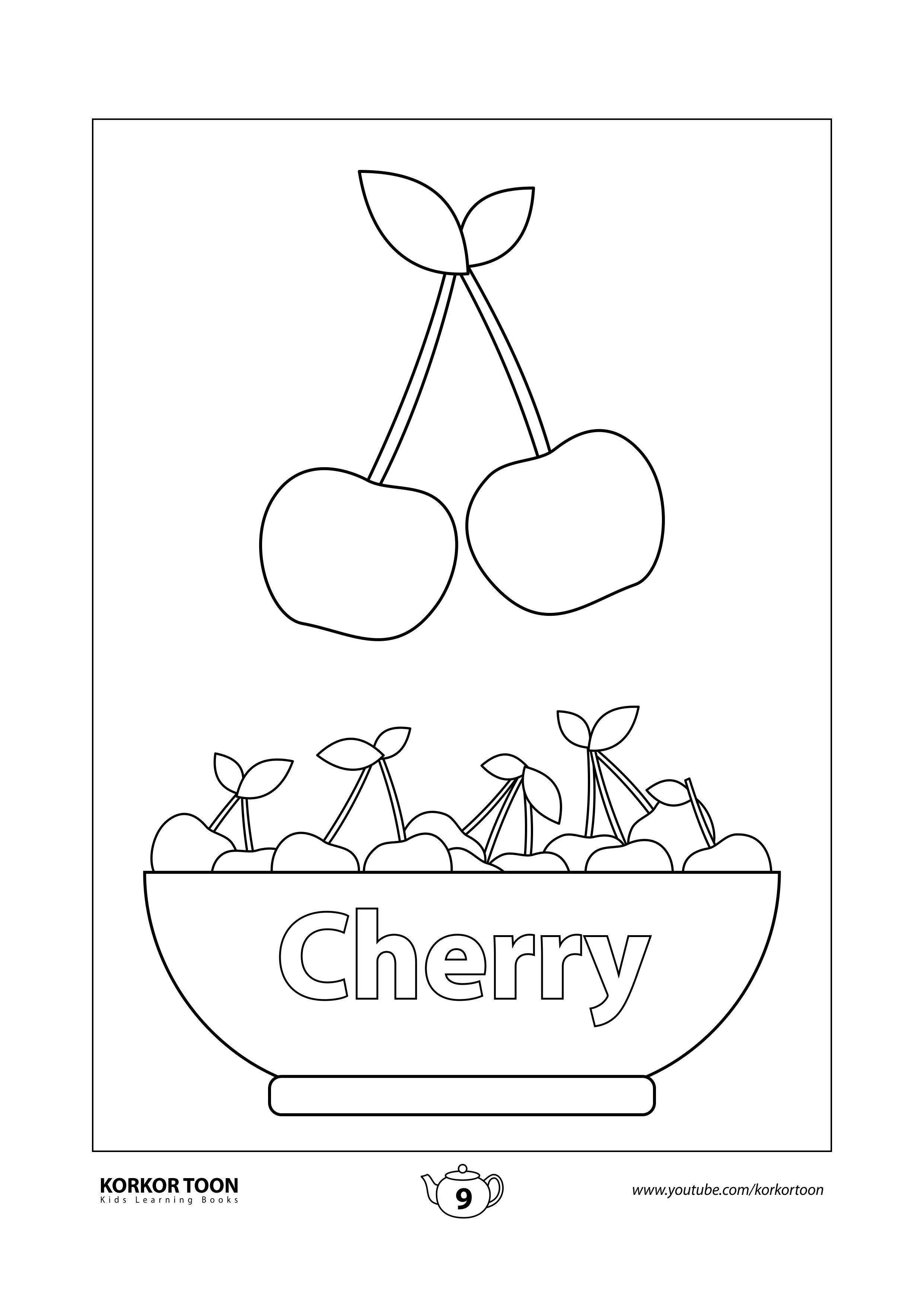 Fruits Coloring Book For Kids Cherry Page 9 Coloring Books Printables Free Kids Kids Coloring Books