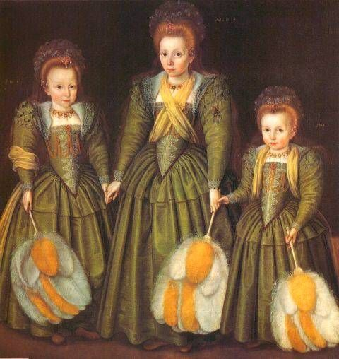Painting by an unknown artist showing the artist's conception of Queen Elizabeth of England I, at the age of three (right), at the age of five (left) and at the age of six (middle).  The fashions are anachronistic, not contemporary with the queen's youth.  But a charming painting, nonetheless.