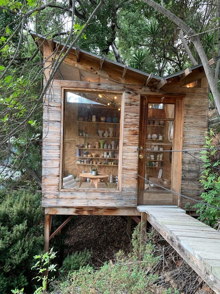 The shed is raised on stilts to match the height of surrounding trees.