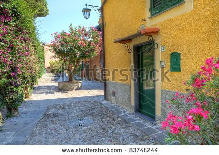stock photo : Small courtyard and yellow house with green wooden door in Portofino, Italy.