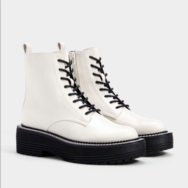 Bershka White Boots | White combat