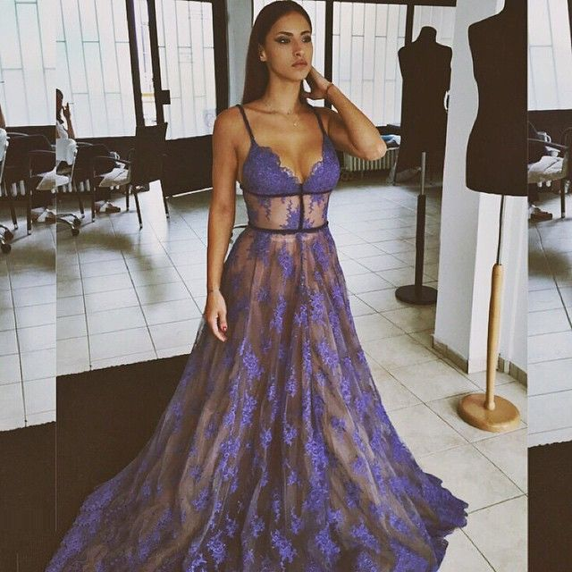 4d8d8b4ea0b 2017 Sheer Purple Evening Dress Lace V-neck Prom Gowns with Spaghetti Straps