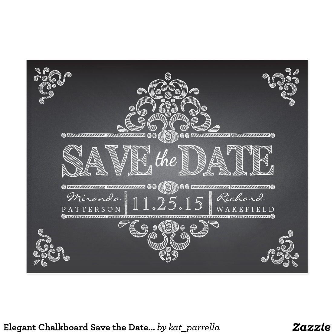 Elegant chalkboard save the date wedding postcard zazzle