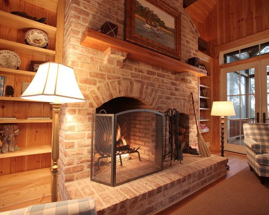Living Room With Brick Fireplace beautiful wooden cabin design in rustic elegant sensation: classic