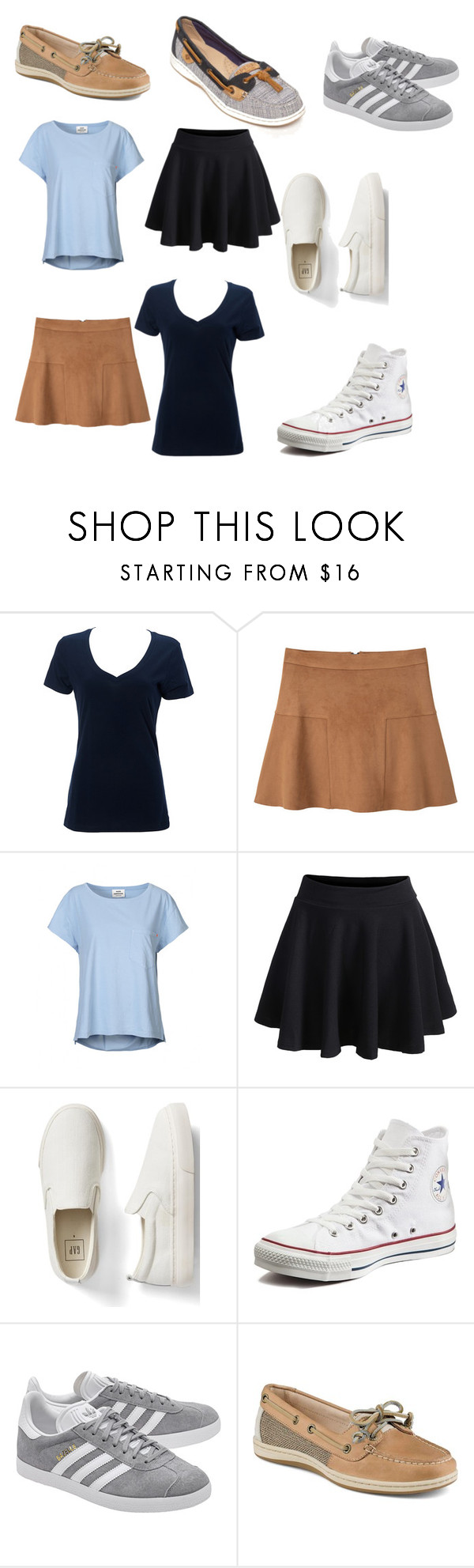 """""""School day 3"""" by sophiad3 on Polyvore featuring Simplex Apparel, MANGO, Mads Nørgaard, WithChic, Gap, Converse, adidas Originals and Sperry"""