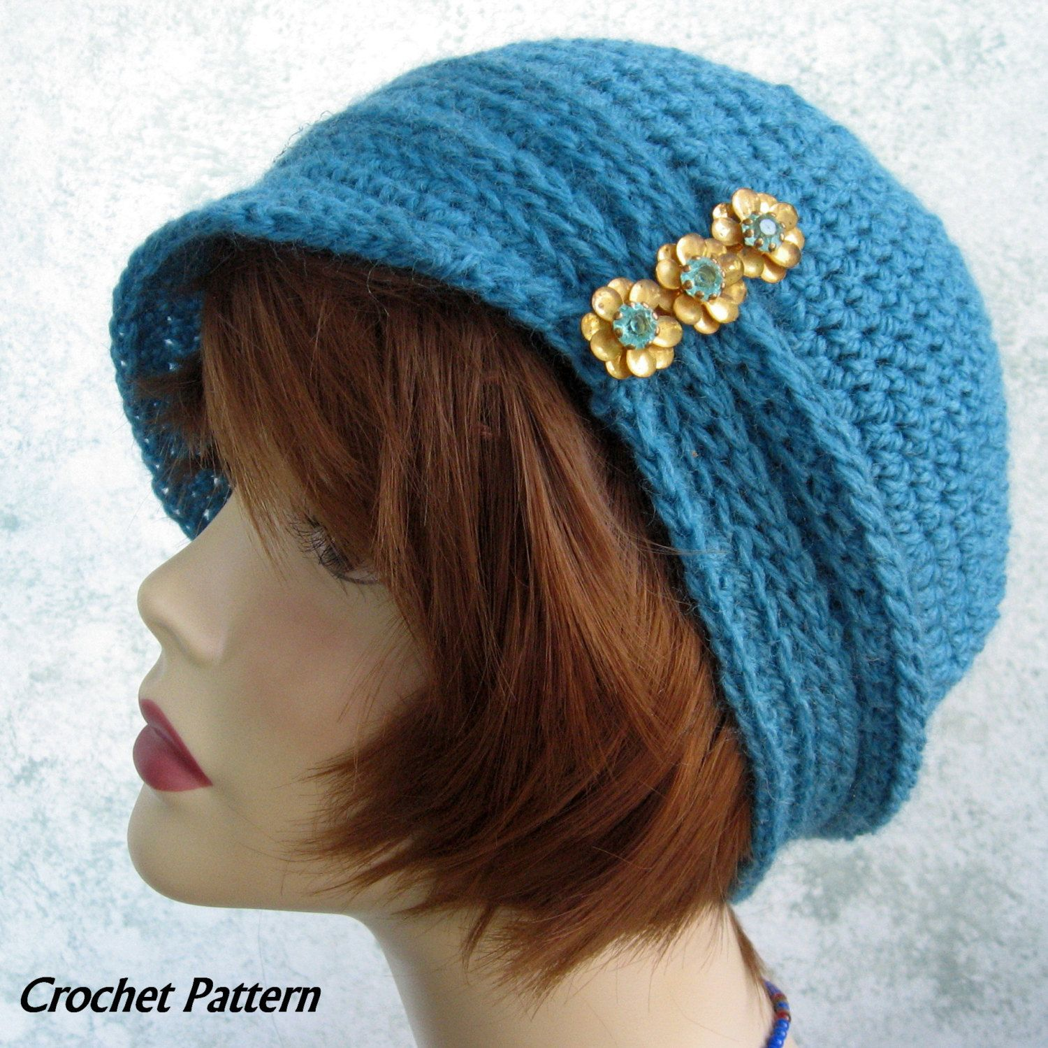 Womens Crochet Hat Pattern Cloche With Ribbing By Kalliedesigns