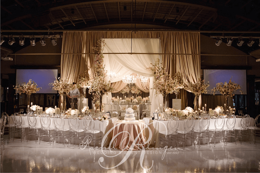 elaborate draping and decor for wedding head table by rachel a clingen toronto