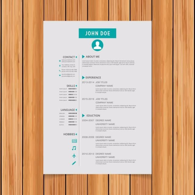 Elegant minimalistic modern vector resume or CV template designed - edit resume