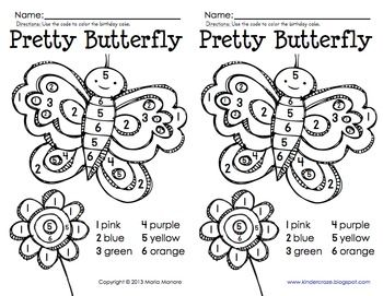 Color By Number Butterfly Education Pinterest Numbers