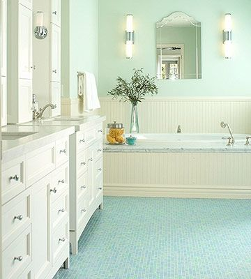 Oceanlike Floor - Translucent glass tiles in watery blues and greens