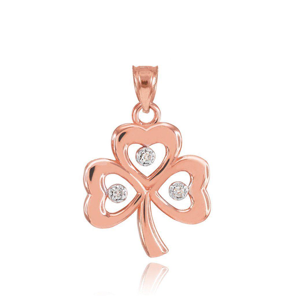 K rose gold shamrock charm three diamond clover leaf bracelet