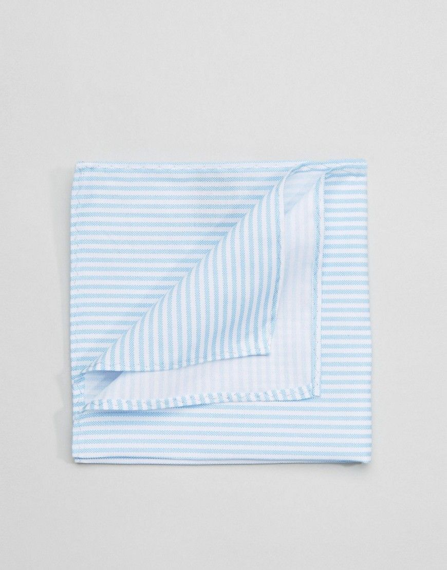 Selected Homme Pocket Square In Stripe Baby Blue The Color Wheel