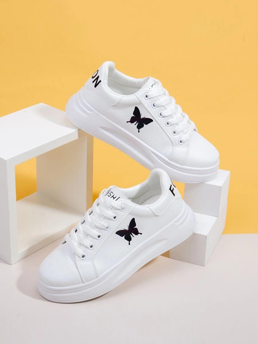 Butterfly Print Lace Up Front Skate Shoes Shein Usa Nike Shoes Women Fashion Vans Shoes Fashion Plain White Shoes