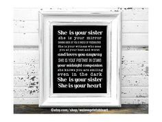 Sister Gifts: This printable art sign features a black background with a great sister quote in white. #sistergifts #sistergiftsforchristmas #sistergiftsbirthday #sistergiftsentimental #sistergiftsideas #sistergiftslittle #sistergiftsmeaningful #sistergiftsthoughtful #sistergiftsunique #sistergiftsforchristmasideas #sistergiftsdecor #sistergiftsprints #sistergiftsbirthdaymeaningful #sistergiftsbirthdaycheap  Sister Gifts: This printable art sign features a black background with a great sister quo #giftsforsister