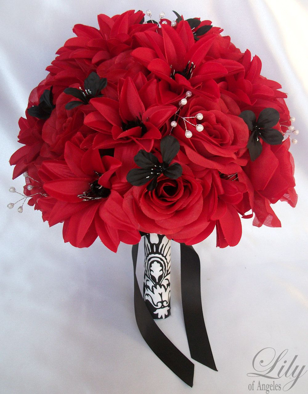 17 pieces package silk flower wedding decoration bridal bouquet 17 pieces package silk flower wedding decoration bridal bouquet black red lily of angeles 19999 via etsy izmirmasajfo
