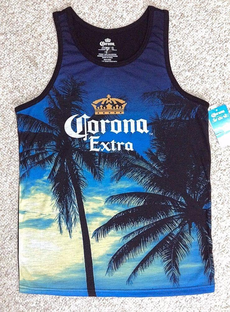 bd706aa1ff16dd NEW Mens CORONA EXTRA TANK TOP Palm Tree Silhouette Night Beach Twilight  Beer  Corona  Tank