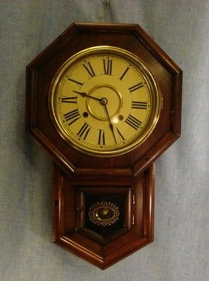 antique 100 all original officerailroadschool regulator wall clock japan original office