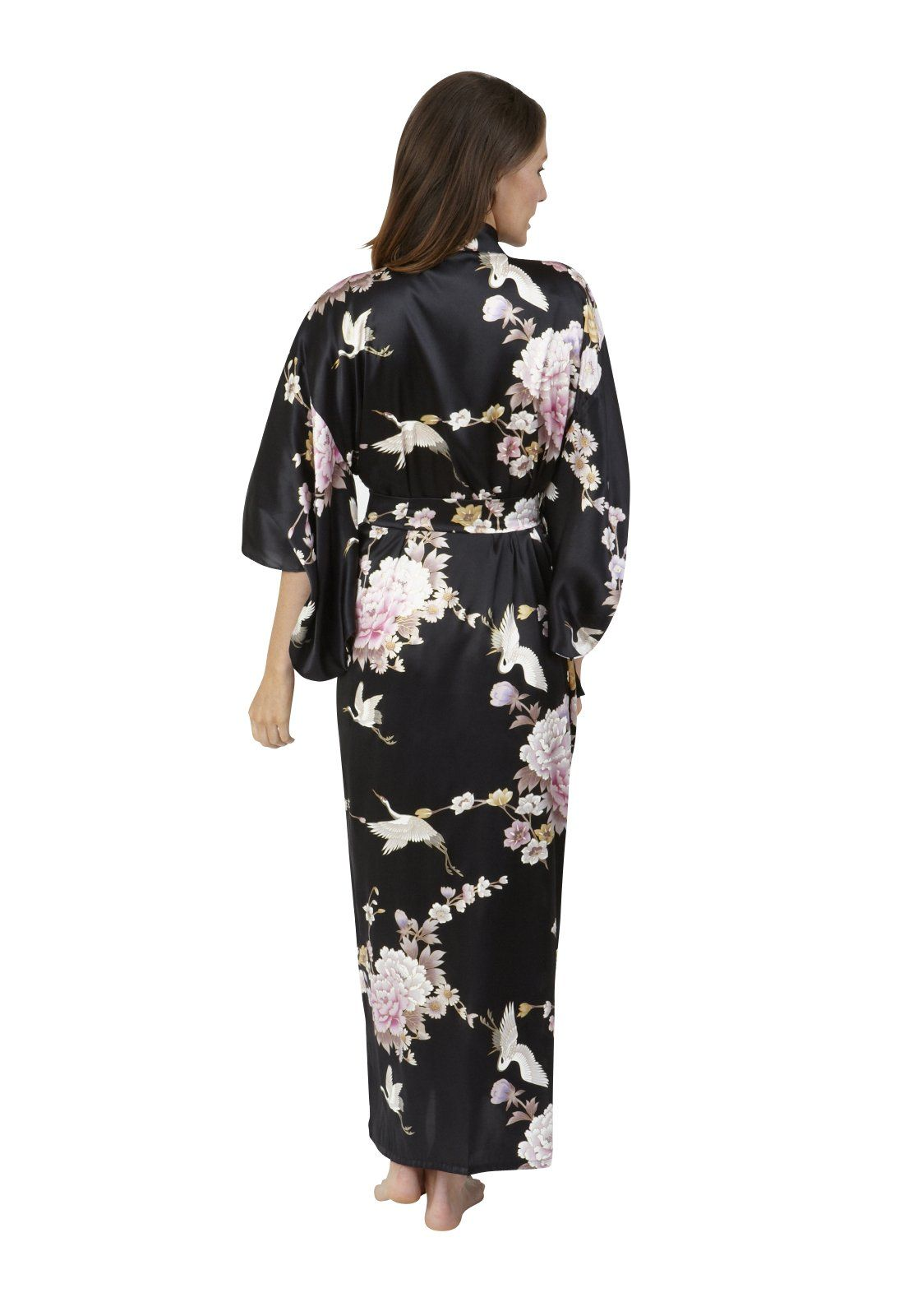 a18011dcaf Beautiful Robes Women s Crane   Peony Silk Kimono Black Long ...