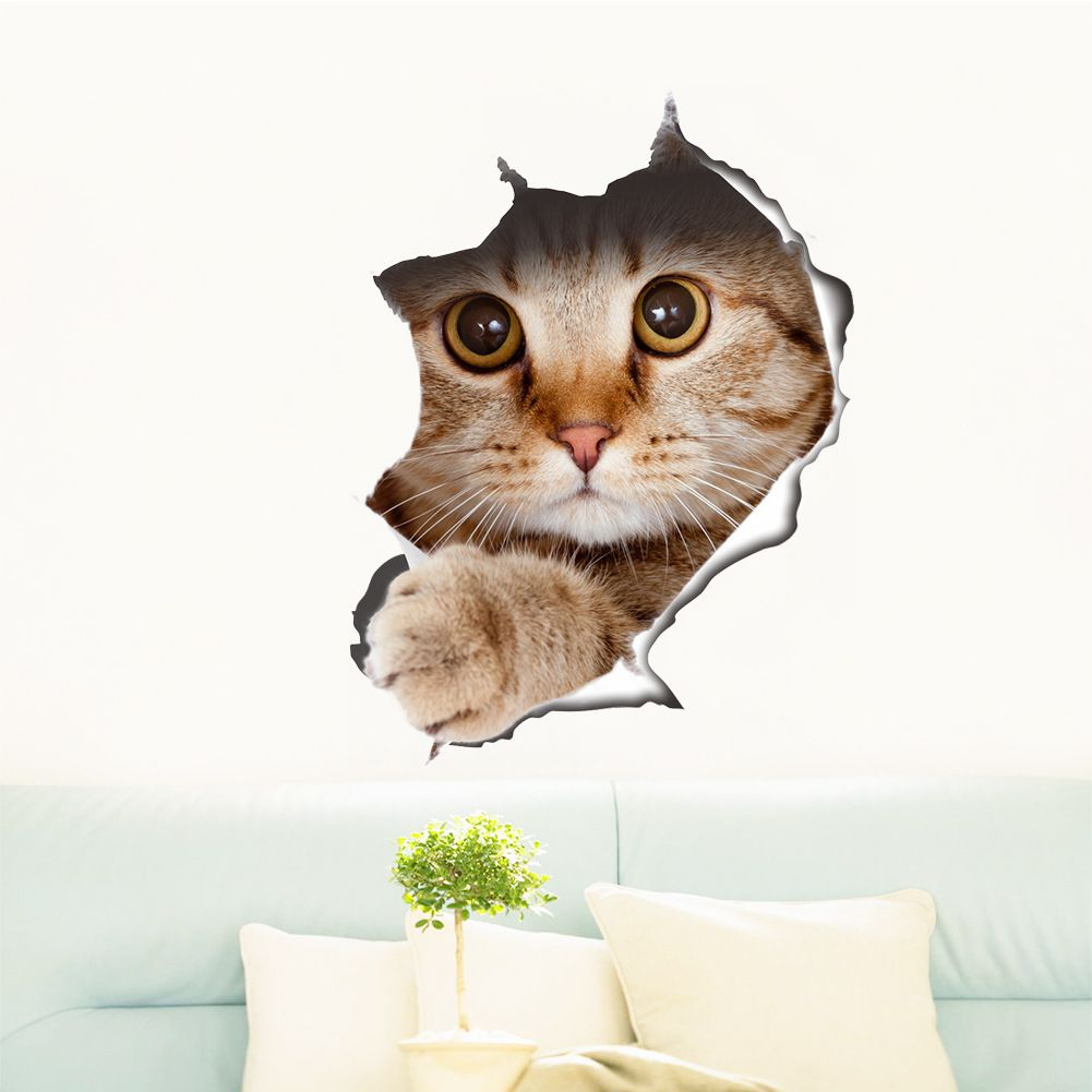 Cute Cats Dog 3D Wall Sticker Living Room Children Room Home Decoration Kitten