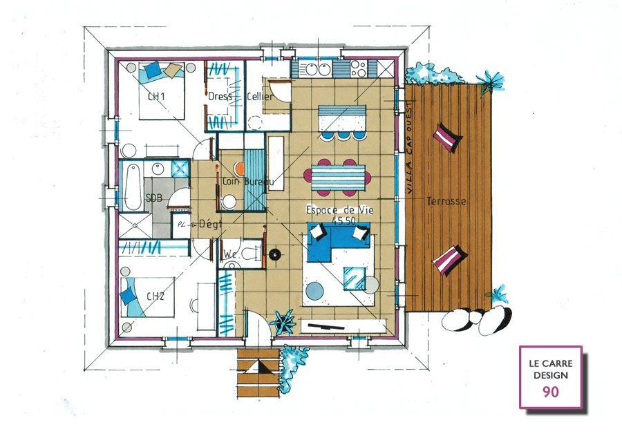 plan maison moderne carre