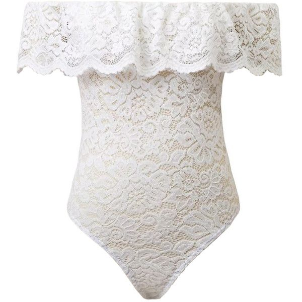 White Off Shoulder Ruffle Sheer Lace Bodysuit (344.485 IDR) ❤ liked on  Polyvore featuring intimates and shapewear 620295bd4