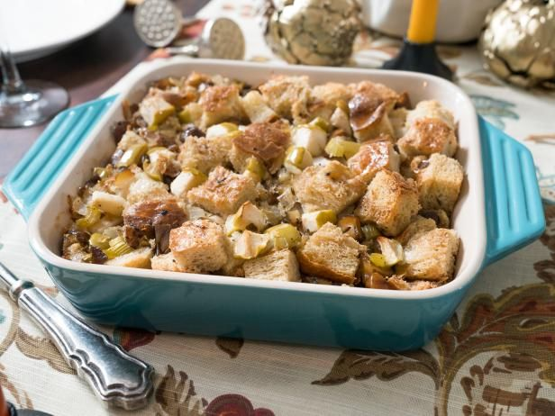 Roasted Chestnut & Apple Dressing Recipe -- Stuffing is best in the whole bird, but this would be tasty to try.  With the apples, this would be tasty w/ pork tenderloin, chicken breasts, etc.  Stuffing isn't just for Thanksgiving!