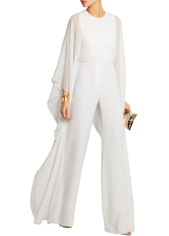 luxury white batwing sleeve jumpsuit_jumpsuit & rompers_women