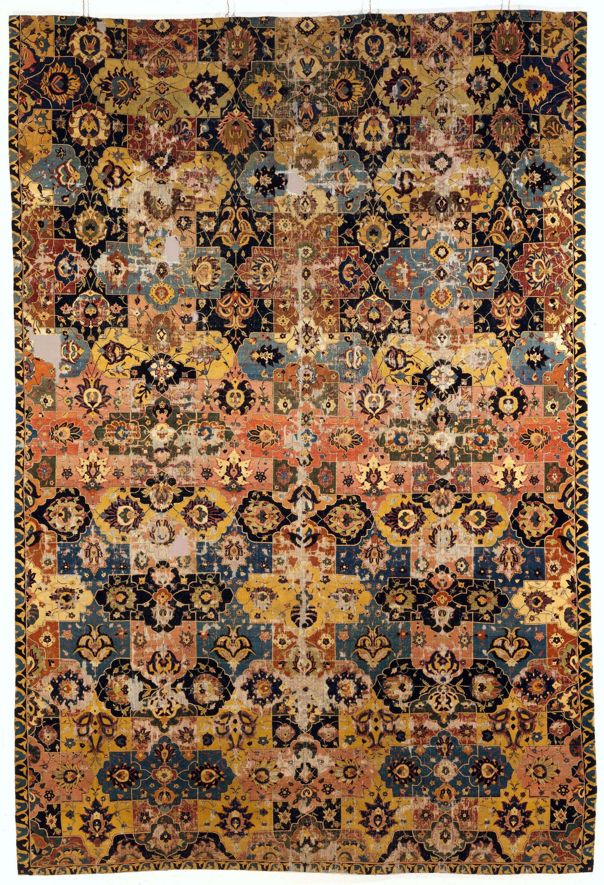 Vase-technique Carpet with Overlapping Cartouches Object Name: Carpet Date: 17th century Geography: Iran, probably Kirman or Isfahan Culture: Islamic