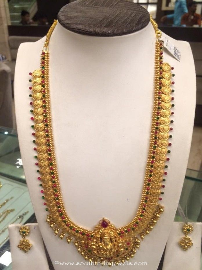 Gold Temple Long Kasumalai Necklace Necklace Designs