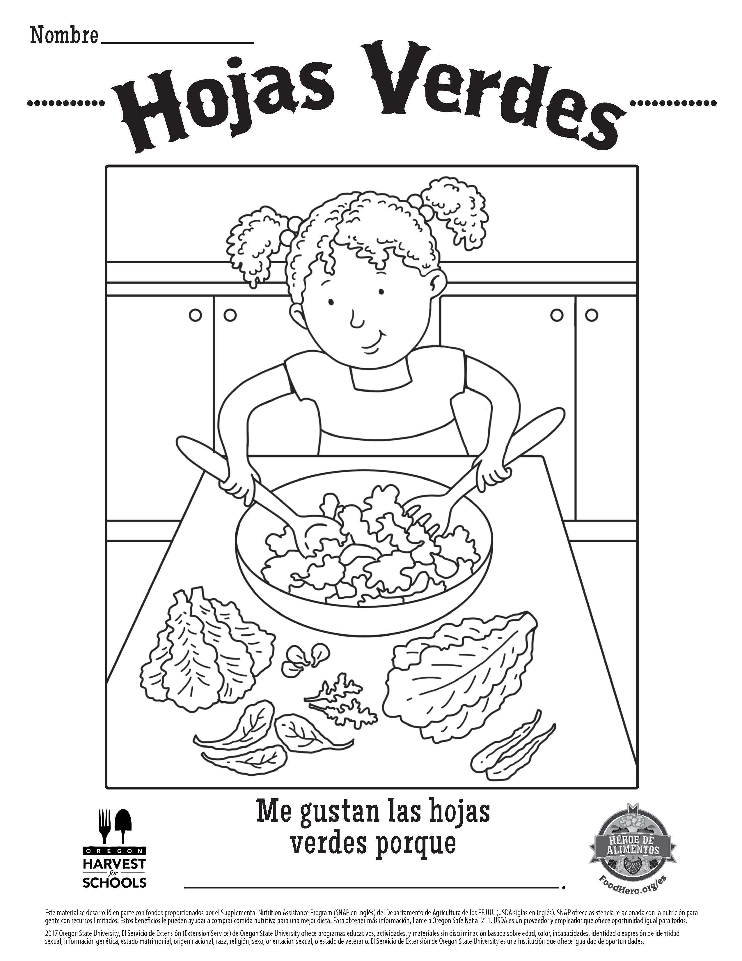 Food Hero Salad Greens in Spanish Free Printable Childrens