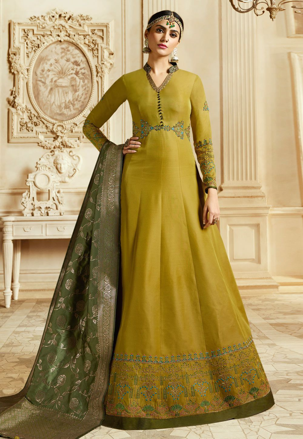 1af9c20fb1 Buy Mustuard Silk Indian Wedding anarkali in UK, USA and Canada in ...