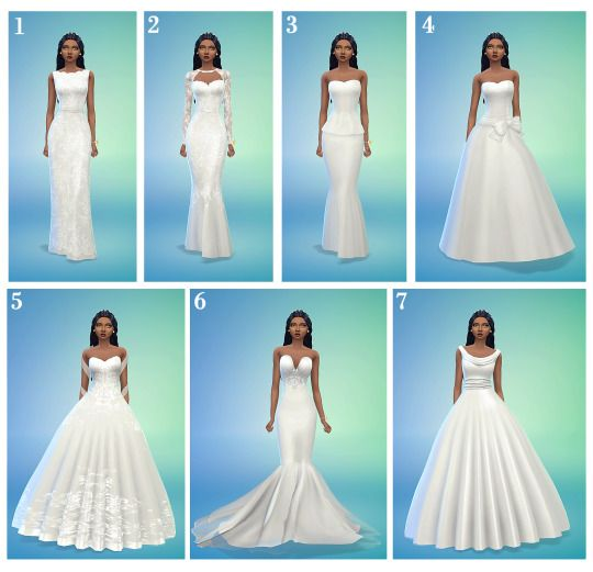 Top 5 wedding dresses? (I saw u answered the top 5 boho wedding dresses but that's not my sims style and I have hardly any cc wedding dresses so helppp please) – Sims 4/3
